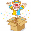 Clown from box — Stock Vector