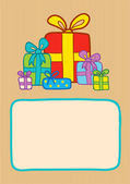 Gifts on a striped backround — Stock Vector