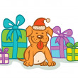 Stock Vector: Dog and presents