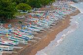 Balinese boats on the beach in Amed — Stock Photo