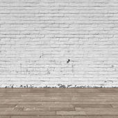 Background interior: brick wall and wood floor — Foto Stock