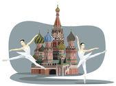Kremlin and Ballerinas — Stock Vector