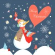 Jolly snowman with heart — 图库矢量图片