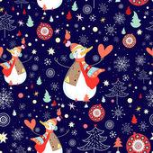 Winter textuur van sneeuwmannen en sneeuwvlokken — Stockvector