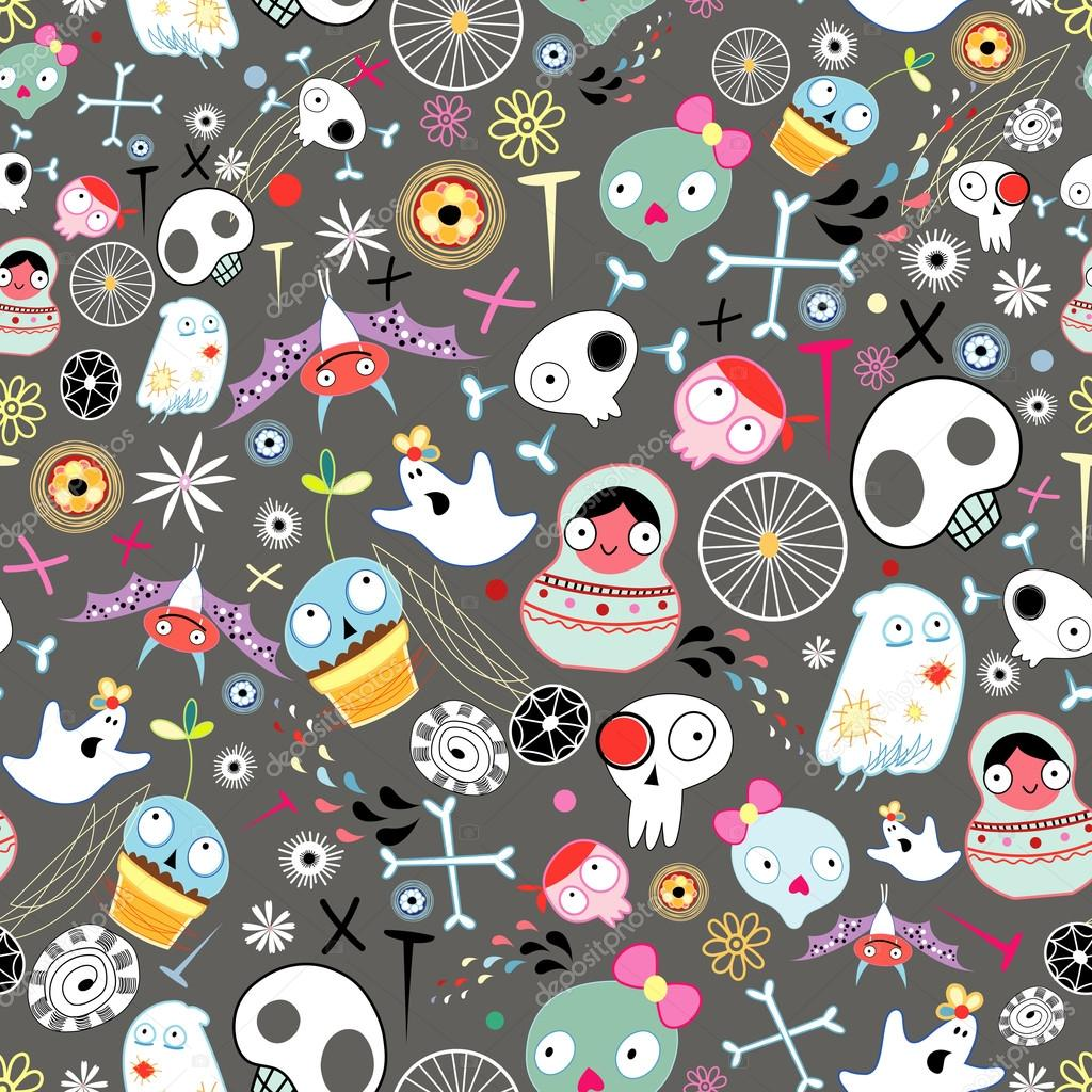 Halloween seamless pattern of skulls, ghosts and other elements on a dark brown background — Stock Vector #12571337