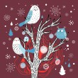 Winter card with owls on the tree — Stock Vector