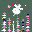 Snowman and forest — Stock Vector