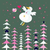 雪人和森林花概要落書きシームレスな繰り返しパターン ベクトル — 图库矢量图片