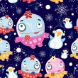 Christmas texture with monsters and penguins — Imagens vectoriais em stock