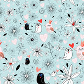 Floral texture with birds — Stock Vector