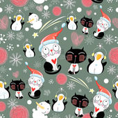 Christmas texture of the cats and penguins — Stock Vector