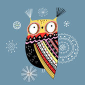 Ornamental owl — Vector de stock