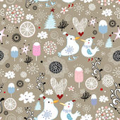 Winter texture with birds on a brown background — Stock Vector