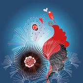 Floral card with a love bird — Stock Vector
