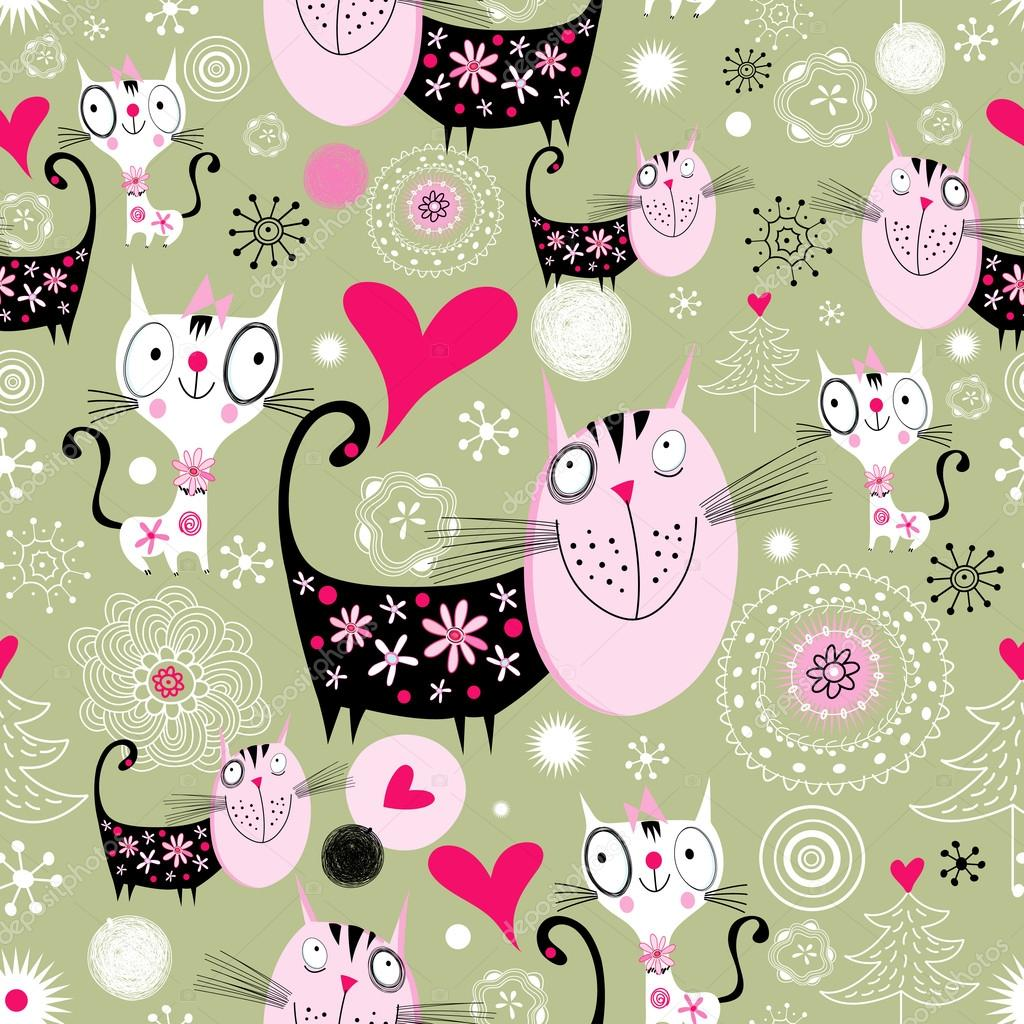 Seamless jolly pattern with lovers cats on a green background with hearts — Stock Vector #14194556
