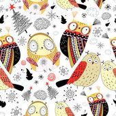 Texture funny owl — Stock Vector