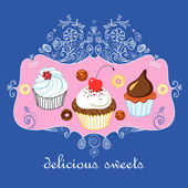 Delicious sweets — Stock Vector