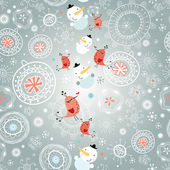 Winter texture with snowflakes and snowmen — Stockvector