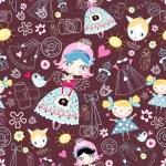 Texture trendy little girls — Stock Vector