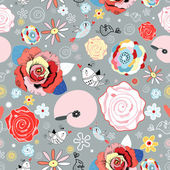 Flower texture with birds in love — ストックベクタ