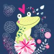 Stock Vector: Frog in love