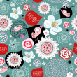 Vector de stock : Flower texture with birds in love