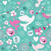 Texture fleur avec oiseaux amoureux — Vecteur