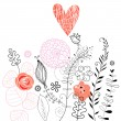 Floral background with love bird — Imagen vectorial