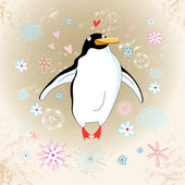 Cheerful penguin lover — Stock Vector
