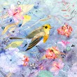 Royalty-Free Stock Photo: Floral background with a bird