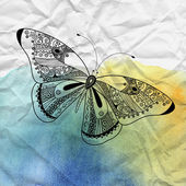 Graphic Butterfly on crumpled paper — Stock Photo