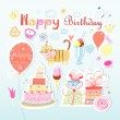 Stock Vector: Set of vector birthday party elements