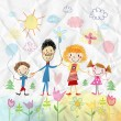 Child's drawing of happy family — Stock Photo #23360950