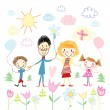 Stock Vector: Child's drawing of happy family