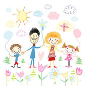 Child's drawing of happy family — Stock Vector