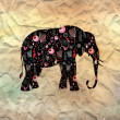 Ornamental elephant silhouette — Stock Photo