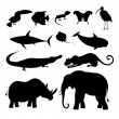 Different silhouettes of animals — Stock Vector