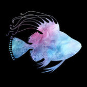 Beautiful watercolor silhouette of fish — Stock Photo