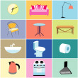 Misc furniture and household items — Stock Vector