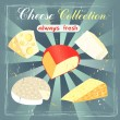Stock Vector: Various types of cheese