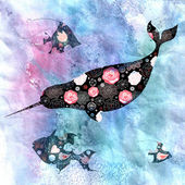 Marine background with narwhals and fish — Photo