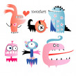 Different funny monsters — Stock Vector
