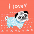 Pug lover — Stock Vector