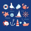 Icons to the marine theme — Stock Vector