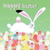 Easter card with rabbit — Stockvektor
