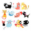 Different cats — Imagen vectorial