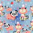 Texture in love cats and pugs winter	 — Stok Vektör