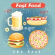 Set of food and drink fast food — Stok Vektör