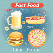 Set of food and drink fast food — Stock Vector