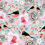 Flower texture with birds in love — Stockvektor